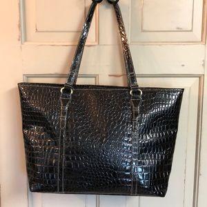 Handbags - Faux Alligator Black Laptop Tote & Briefcase